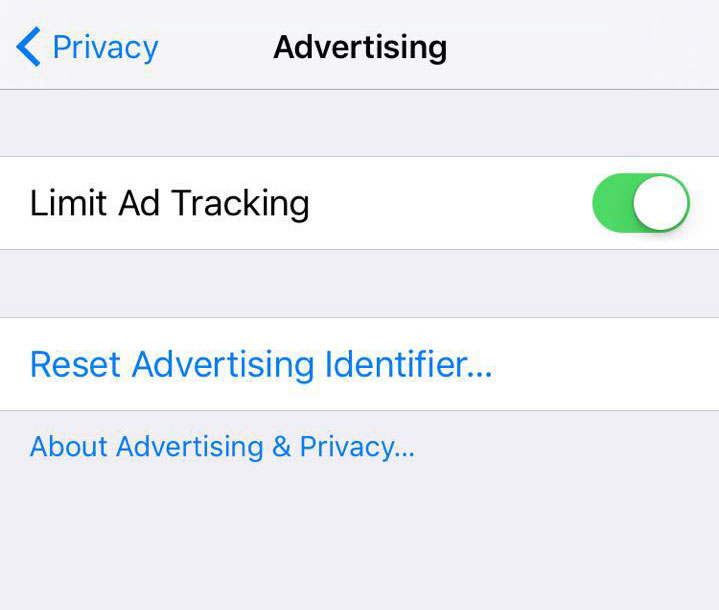 iOS 10 showing Limit ad tracking feature screenshot RevX